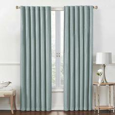 Rockwell 95-Inch Rod Pocket/Back Tab Room-Darkening Window Curtain Panel in Aqua