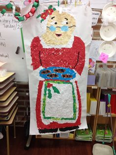Mrs Claus - children added paper mosaic style.