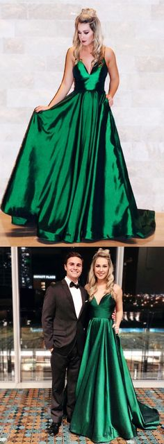 simple prom dress, long prom dress, green prom dress, spaghetti straps prom dress, formal evening dress, A-Line party dress 51875 #RosyProm #fashionpromdress #charmingpromgown #longpartydress #simpleeveningdress #Vneckpromdress #greenpromgown