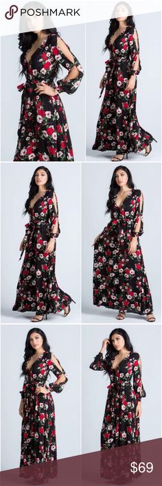 🆕Summer in Milan Romantic Floral Maxi Dress Own the night in our Summer in Milan Black Floral Maxi Dress. Features a plunging V neckline, bishop like sleeves with open cut out design, waist that cinches with a trendy tie belt as it leads to a long flowing skirt.  100% Rayon A Mermaid's Epiphany Dresses Maxi