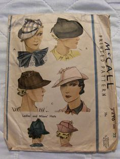McCall 296 | 1930s Ladies' & Misses' Hats