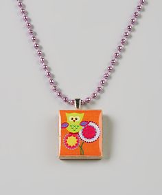 Take a look at this Orange & Purple Owl Floral Scrabble Tile Necklace on zulily today!