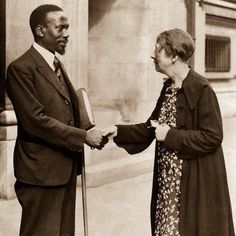C. 1937: Mzee Kenyatta with freedom activist Sylvia Pankhurst at the Abyssinia Peace & Justice Summit in the U.K.