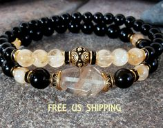 Spiritual Growth Rulilated Quartz Citrine Onyx by LifeForceEnergy, $36.00