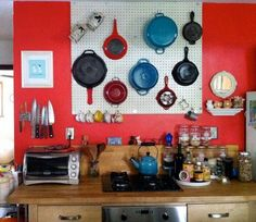 A pot rack will help you free up the cabinet space and also put your pots and pans within easy reach!