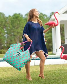 Personalized Large Beach Bag Oversized Pool Tote – Gifts Happen Here Large Beach Bags, Flamingo Beach, Embroidered Gifts, Beach Accessories, Beach Ready, Custom Embroidery, Purses And Bags, Couture, Sewing Ideas