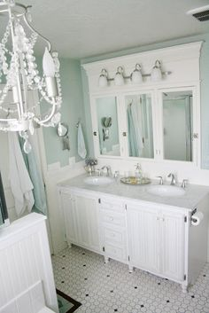 Bathroom ideas Recessed Medicine Cabinet > inspiration > Ronda and Les at the Batchelors Way Bathroom Vanity Tray, White Bathroom, Modern Bathroom, Small Bathroom, Master Bathroom, Bathroom Mirrors, Bathroom Cabinets, Vanity Mirrors, Seafoam Bathroom