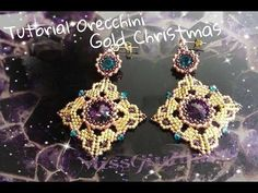 DIY Tutorial orecchini Gold Christmas, My Crafts and DIY Projects Beaded Bracelet Patterns, Jewelry Patterns, Beading Patterns, Beaded Jewelry, Lace Bracelet, Jewellery, Free Beading Tutorials, Jewelry Making Tutorials, Beading Projects