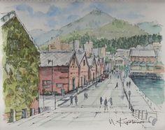 ペン彩 ペン淡彩風景スケッチ 函館山が見える倉庫群
