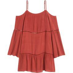 Vestido hombro descubierto 16.990 (22,450 CAD) ❤ liked on Polyvore featuring dresses, tops, short dresses, short red dress, mini dress, red mini dress and red dress