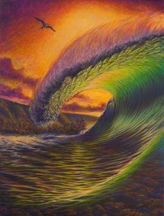 Wave Ocean Mural, Ocean Art, Ocean Waves, Surf Design, Wave Art, Surf Art, Moon Art, Beach Art, Photo Illustration