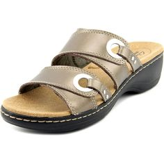Clarks Hayla Acadia Women Open Toe Leather Bronze Slides Sandal ** Quickly view this special product, click the image : Clarks sandals
