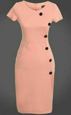 To find out about the Pink Short Sleeve Slim Buttons Bodycon Dress at SHEIN, part of our latest Dresses ready to shop online today! Elegant Dresses, Vintage Dresses, Casual Dresses, Short Dresses, Dresses For Work, Dresses With Sleeves, African Attire, African Fashion Dresses, African Dress
