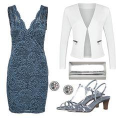 Party Outfits: SpecialEvening bei FrauenOutfits.deEin schickes Partyoutfit, bei dem der Fokus auf ein blaues Spitzenkleid liegt. Der weiße Blazer und glänzende Sandalen machen das Abend Outfit komplett.