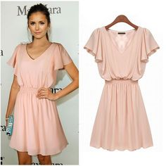 V Neck Lotus Short Sleeve Pleated Women Pink Dresses