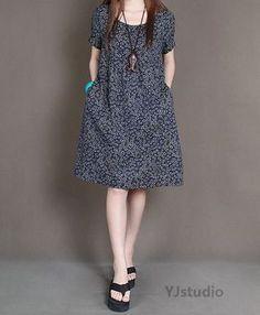 Cotton dress, Dark red Dress, Navy Blue Dress, Dark Green Dress, short sleeve, summer dress, round neck, loose fitting dress