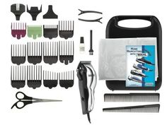 Wahl 79520-500 Chrome Pro 25 piece Haircut Kit by Wahl. $25.48. 14 guide combs with adjustable taper control. Full color English and Spanish Instructions / Styling Guide. Includes 2 combs; scissors; 2 hair clips; blade guard; barbers cape; cleaning brush and blade oil. Permanently aligned high carbon steel blades never need adjusting. High Speed Power Drive motor cuts thick hair more smoothly. Wahl 79520-500 Chrome Pro 25 piece Deluxe Hair Clipper Kit with handle carry...