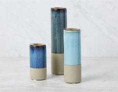 KALAMA - Set of 3 Candle Holders - Blue