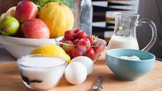 Jordgubbar, citron, socker, yoghurt, grädde, ägg Yoghurt, Punch Bowls