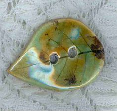 Large Amber/Green Embossed  Leaf Button Sewing by uniquebuttons, $6.00