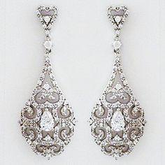 Delicate Vintage Filigree Drop Earrings Bridal Scroll Design Jewellery Pearl