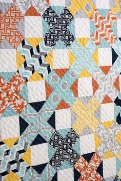 Hot Cross Buns quilt  by Vanessa Goertzen of Lella Boutique. Fabric is Mixologie by Studio M for Moda.