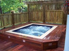Build your hot tub, spa or exercise pool. Get instant access to detailed information on how to build your own hot tub, spa or exercise pool today! Hot Tub Backyard, Hot Tub Garden, Small Backyard Pools, Diy Garden, Small Pools, Pool Decks, Whirlpool Deck, Japanese Soaking Tubs, Outdoor Spa