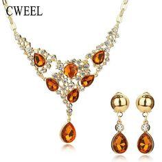 AYAYOO Jewelry Sets Two Colors Imitation Crystal Necklaces Earrings Brides  Jewelry For Women Wedding Party Fashion Accessories 7d0b24d938cf