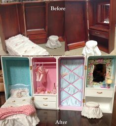 The Savage Dolls: Thrift store doll trunk makeover! Baby Doll Clothes, Doll Clothes Patterns, Diy Doll Trunk, Diy Doll Closet, Trunk Makeover, Furniture Makeover, Diy Barbie Furniture, Barbie Wardrobe, Ag Dolls