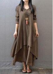 V Neck Long Sleeve Orange Maxi Dress on sale only US$27.79 now, buy cheap V Neck Long Sleeve Orange Maxi Dress at lulugal.com