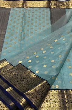 1 new message Blue Silk Saree, Kanjivaram Sarees Silk, Kanchipuram Saree, Cotton Saree Designs, Saree Blouse Neck Designs, Cotton Dress Indian, Indian Dresses, South Indian Wedding Saree, Saree Wedding