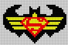 Batman and Superman Pixel Art Superman Symbol, Batman And Superman, Stitch Character, Comic Character, Pony Bead Patterns, Beading Patterns, Superhero Quilt, Pixel Art Grid, Mini Iron