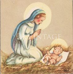 Vintage Religious Christmas Card, Mary and Baby Jesus. CIrca 1940s Red Farm Studio Greeting Card by 2kVintageShop on Etsy