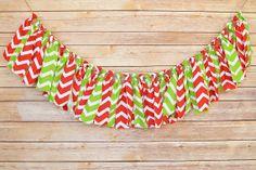 Chevron Christmas  Shabby Chic Rag Tie Banner by ThePickledPeanut, $25.00