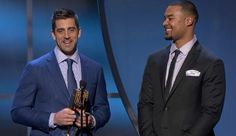 The Rodgers boys accept the award for the # 1 NFL Play of the 2015 Season, which was the infamous Hail Mary play that catapulted the Packers over the Detroit Lions in heartbreaking fashion, 27-23 (Week 13 game)