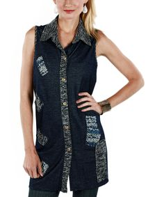 Another great find on #zulily! Firmiana Blue Label Blue Fair Isle Button-Up Top by Firmiana Blue Label #zulilyfinds