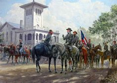 Robert E. Lee and his staff, painted by Mort Kunstler.    For haunting accounts of Lee and his homes, see  http://www.goodreads.com/book/show/1537095.Dixie_Spirits