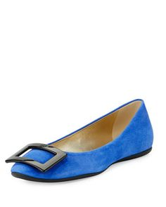 Gommette+Buckle+Leather+Flat,+China+Blue+by+Roger+Vivier+at+Neiman+Marcus.