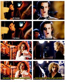 Can we talk about this? The Doctor doesn't have a home, he's all alone in the universe. But with River he feels safe. River is his home. Because 'home' isn't always a roof and four walls. Home is where your family is, where your heart lies. Home is where you belong. And the Doctor belongs with River, because not only is she his wife, she's his companion, the daughter of his best friends, and his true love. He trusts her completely and loves her more than anyone. She's him home. And he is…