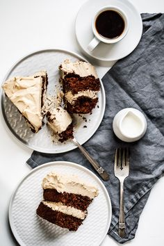 A creamy and decadentcoffee lover's chocolate cake with a dark chocolate sponge cake, and smothered with a whitechocolate-coffee frosting! | 1BigBite  #glutenfree #birthdaycake