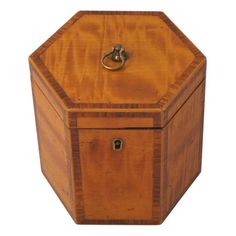 English Hexagonal Tea Caddy of Satinwood, circa 1790   See more antique and modern Boxes at https://www.1stdibs.com/furniture/decorative-objects/boxes