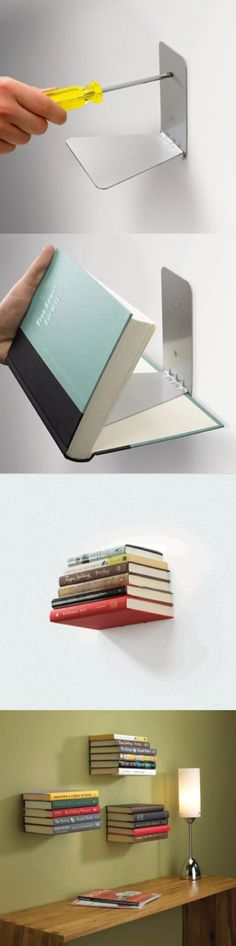 "HOW TO MAKE A FLOATING STACK OF BOOKS BOOKSHELF. DIY REPURPOSE UPCYCLE: This is a really cool contemporary ""bookshelf"" made with a book hinged bracket. Could also use a couple of L brackets or an old metal bookend to accomplish this magic."