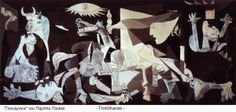 Pablo Picasso, Guernica, oil on canvas. Picasso conjures a sense of abandonment and the resulting carnage that ensues. Pablo Picasso, Picasso Guernica, Kunst Picasso, Art Picasso, Picasso Paintings, Giacometti, Famous Art Pieces, Cubist Movement, Art History