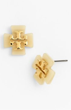 Tory Burch 'Tilsim' Logo Clover Stud Earrings. By I want I mean I need. Obsessed