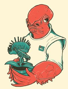 The Admiral's Trap Art Print by Jonah Block Starwars, Dark Vader, Trap Art, Design Creation, Admiral Ackbar, Illustrator Cs5, Star Wars Fan Art, Star Wars Humor, Illustrations Posters