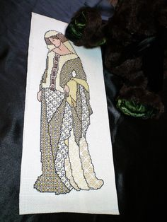 Black work Lady Guinevere, Completed sewing, King Arthur, medieval cross stitch, needle point, embroidery, historical fantasy wall hanging.