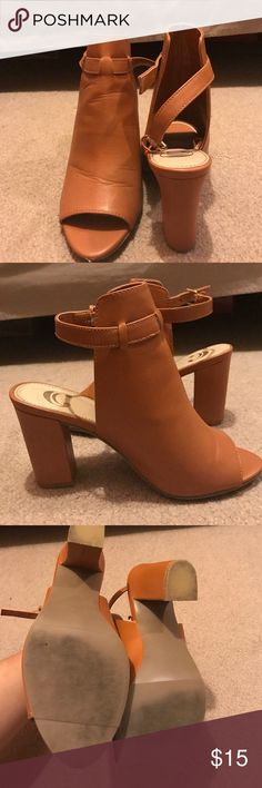 "WORN ONCE. Charming Charlie's bootie Tan Charming Charlie's bootie with peep toe and chunky 2"" heel. GREAT condition other than the small scuff mark on the tip of the right shoe (pictured above). Charming Charlie Shoes Ankle Boots & Booties"