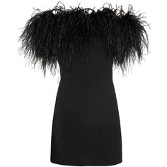 Off-the-shoulder feather-trimmed dress Saint Laurent... (€7.980) ❤ liked on Polyvore featuring yves saint laurent