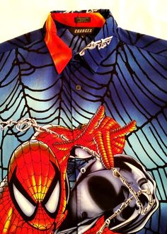 Spider Man Changes Button Short Sleeve All Over Casual Shirt Mens sz L #Changes #ButtonFront