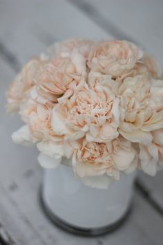 peach carnations garden roses diy wedding centerpiece bouquet peonies inexpensive